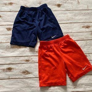 NIKE Athletic Mesh Shorts Blue Orange Boys 6-7